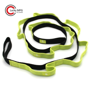 Custom Logo Yoga Workout Elastic Ballet Nylon Yoga Stretching Strap Band With Loops