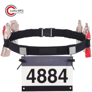 Custom Race Number Belt Reflective With Gel Holders Easy Clasp