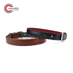 Genuine Leather Dog Collar With Heavy Jacquard Fabric