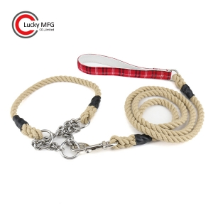 Braided Rope Dog Leash With Extra Collar
