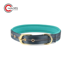 Neoprene Dog Collar Luxury Gold Metal Buckle LuckyMFG
